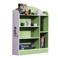 6 Shelf Kids Bookshelf in Green and White 107cm