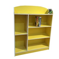 6 Shelf Kids MDF Bookshelf in Yellow & White 107cm