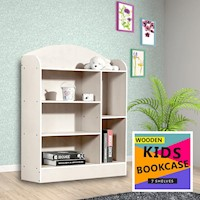 6 Shelf Kids Bookshelf in Natural and White 107cm