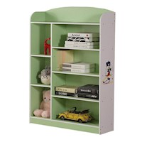 8 Shelf Kids Bookshelf in Green and White 130cm