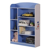 8 Shelf Kids Bookshelf in Blue and White 130cm
