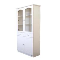 French Glass Display Cabinet with 2 Drawers - Beige