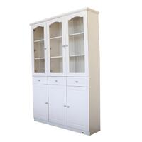 French Glass Display Cabinet with 3 Drawers - Beige