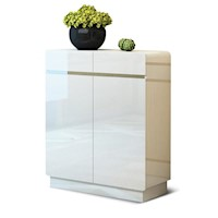 High Gloss Shoe Rack Storage Cabinet with 2 Doors