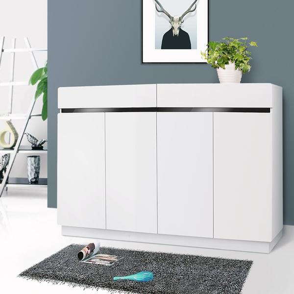 High Gloss 4 Door Mdf Shoe Storage Cabinet In White 120cm