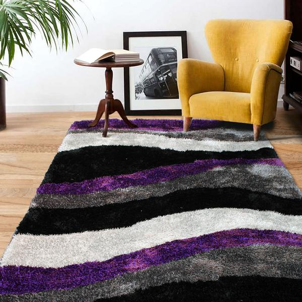 Black And White Rugs Adelaide: Plush Polyester Shag Pile Rug In Purple Black & Grey
