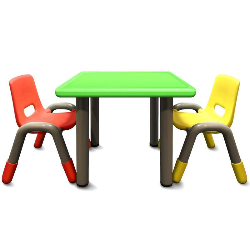 Admirable Heavy Duty Plastic Kids Square Table Chairs Green Table 3Pcs Set 5 Interior Design Ideas Gresisoteloinfo