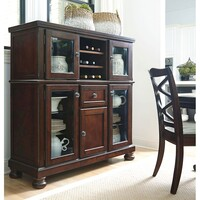Porter Wooden China Cabinet in Burnished Brown