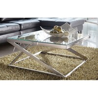 Coylin Modern Square Coffee Table with Glass Top