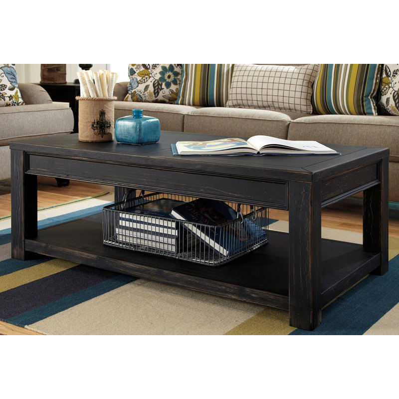 Gavelston weathered timber coffee table in charcoal buy for Charcoal coffee table
