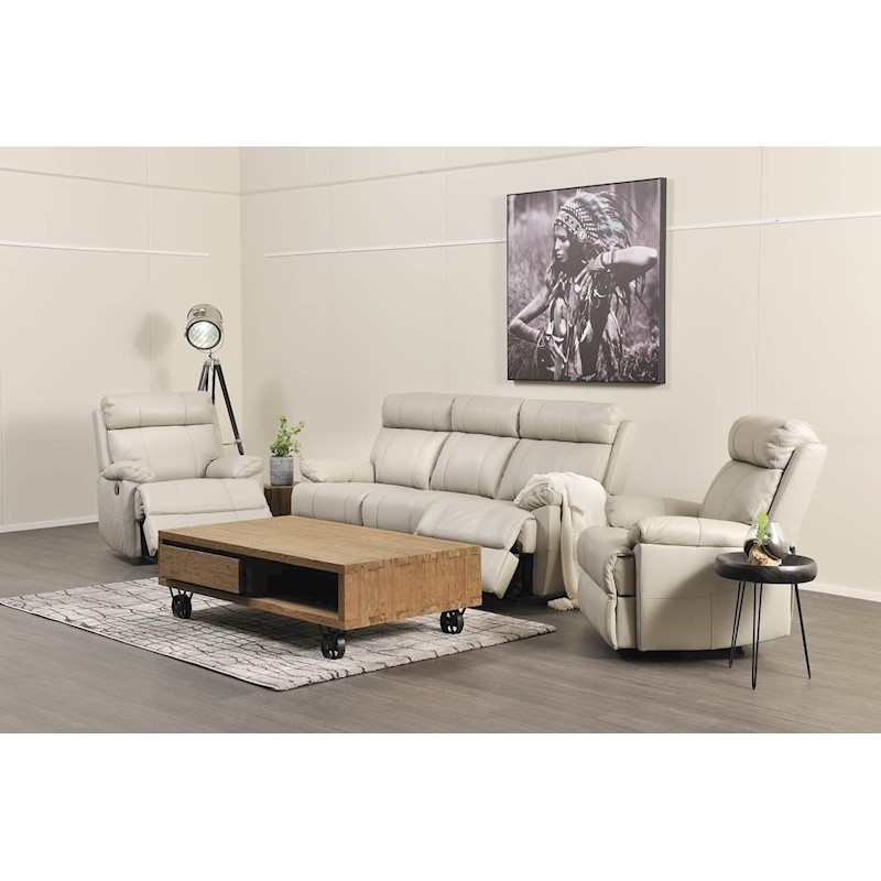 Grey Lounge Suite: Gilmour 3 Piece Recliner Suite - Light Grey Leather