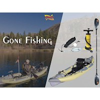 Gone Fishing Inflatable Kayak Pack w/ 4 Part Paddle