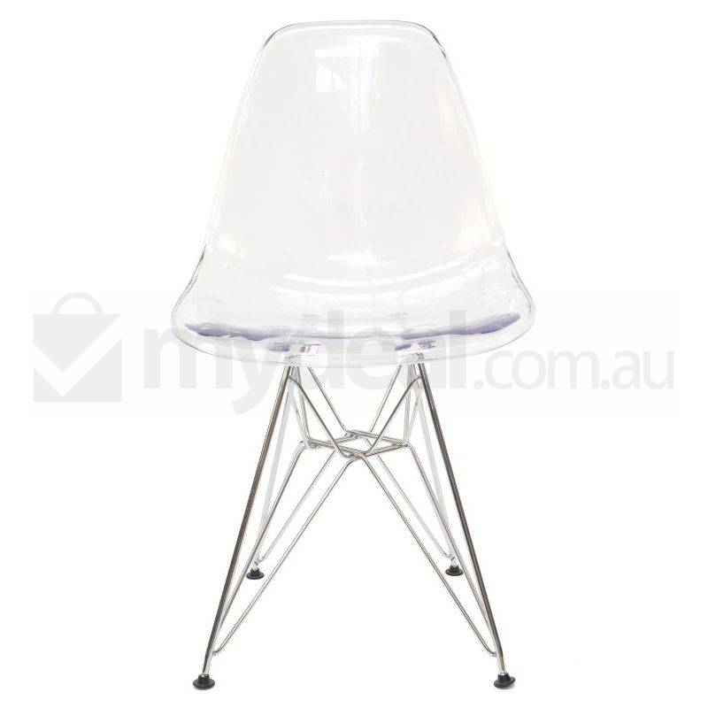 replica eames dsr dining chair in clear chrome buy