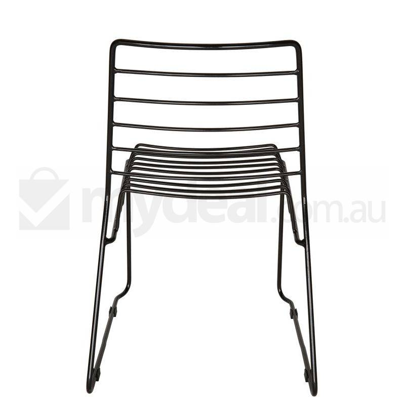 modern string bend wire dining chair in black