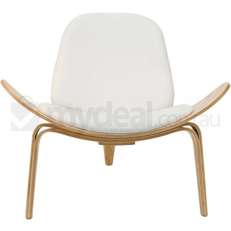 Replica hans wegner shell chair in white natural buy designer chairs - Shell chair replica ...