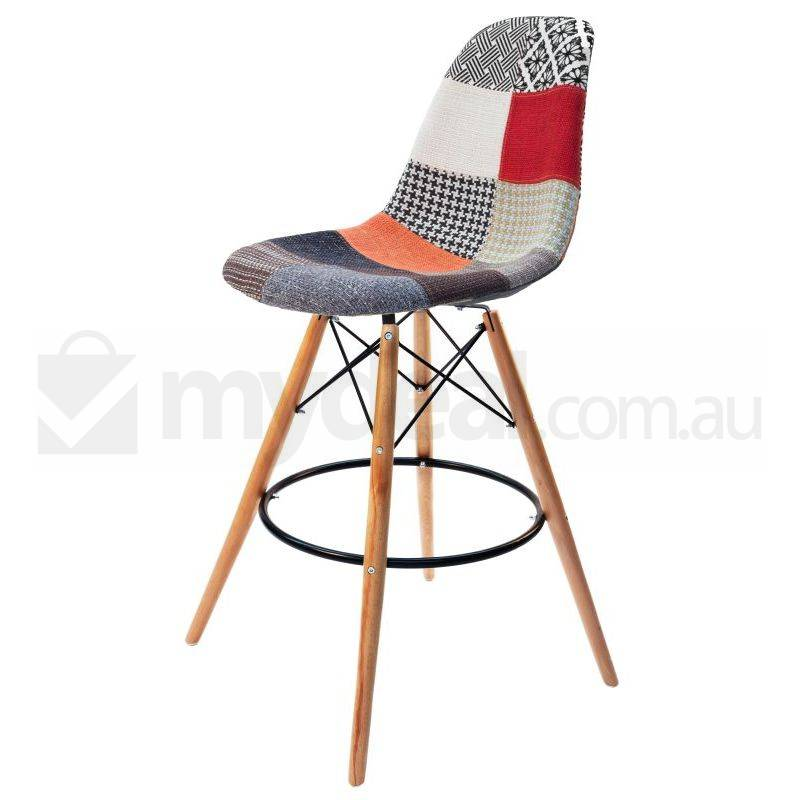 eames inspired dsw bar stool in patches and natural buy. Black Bedroom Furniture Sets. Home Design Ideas