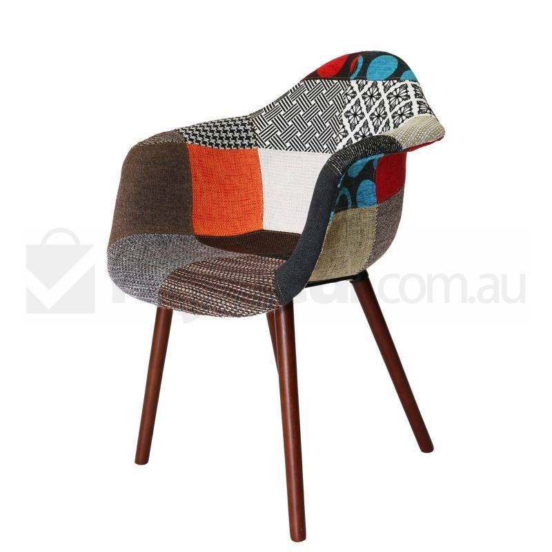 Replica eames daw hal chair in patches and walnut buy for Eames chair daw replica