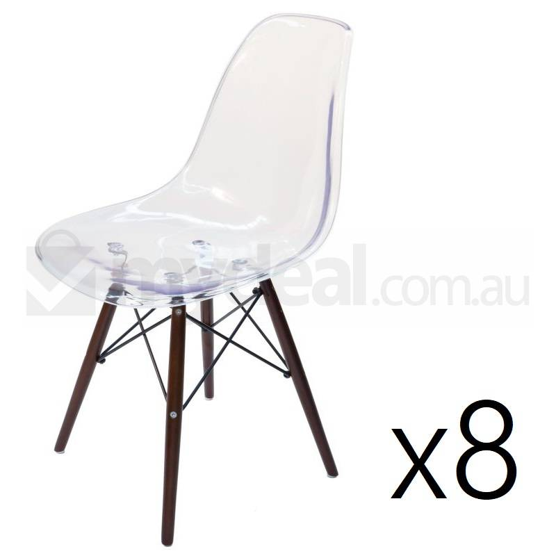 8x replica eames dsw dining chair in clear walnut buy