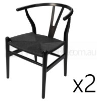 2x Replica Hans Wegner Wishbone Dining Chairs Black