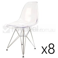 8x Replica Eames DSR Dining Chair in Clear & Chrome