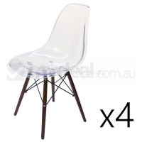 4x Replica Eames DSW Dining Chair in Clear & Walnut