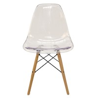 Replica Eames DSW Dining Chair - Clear & Natural