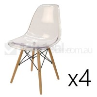 4x Replica Eames DSW Dining Chairs Clear & Natural