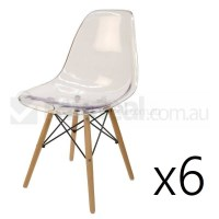 6x Replica Eames DSW Dining Chair - Clear & Natural