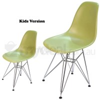 Kids Replica Eames DSR Dining Chair Green & Chrome
