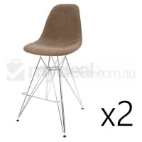 2x Eames Inspired DSR Bar Stool in Brown and Chrome