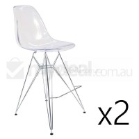 2x Eames Inspired DSR Bar Stool in Clear and Chrome