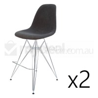 2x Eames Inspired DSR Bar Stool - Charcoal & Chrome