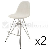2x Eames Inspired DSR Bar Stool in Ivory and Chrome