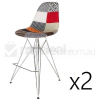 2x Eames Inspired DSR Bar Stool in Patches & Chrome