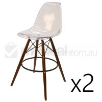 2x Eames Inspired DSW Bar Stool in Clear and Walnut