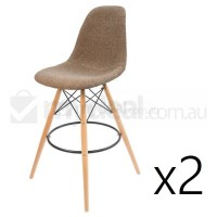 2x Eames Inspired DSW Bar Stool in Brown & Natural