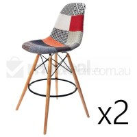 2x Eames Inspired DSW Bar Stool - Patches & Natural