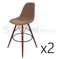 2x Eames Inspired DSW Bar Stool in Brown and Walnut