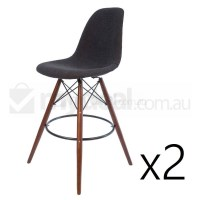 2x Eames Inspired DSW Bar Stool - Charcoal & Walnut