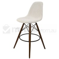 Eames Inspired DSW Bar Stool in Ivory and Walnut