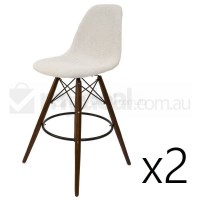 2x Eames Inspired DSW Bar Stool in Ivory and Walnut