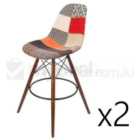 2x Eames Inspired DSW Bar Stool in Patches & Walnut