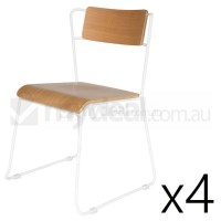 4x Enzo Ash Wood Bend Steel Dining Chair in White
