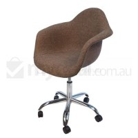 Eames Inspired DAW/DAR Office Chair in Brown Fabric