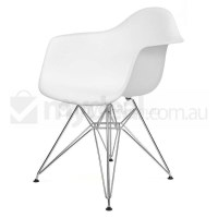 Replica Eames DAR Dining Chair in White and Chrome