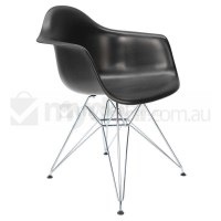 Replica Eames DAR Dining Chair in Black and Chrome