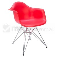 Replica Eames DAR Dining Chair in Red and Chrome