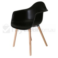 Replica Eames DAW Hal Chair in Black and Natural