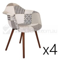 4x Replica Eames DAW Hal Chair in Patchwork Ver 3