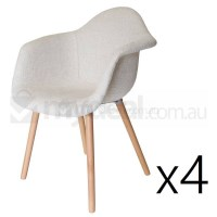 4x Replica Eames DAW Hal Chair in Ivory and Natural